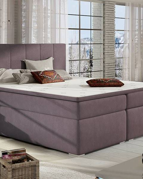 NABBI Barmo 160 čalúnená manželská posteľ s úložným priestorom fialová