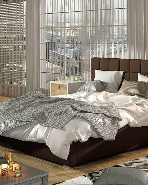 NABBI Galimo UP 200 čalúnená manželská posteľ s roštom tmavohnedá