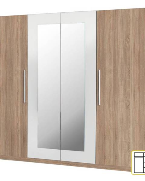 Kondela Martina 4D šatníková skriňa so zrkadlom dub sonoma