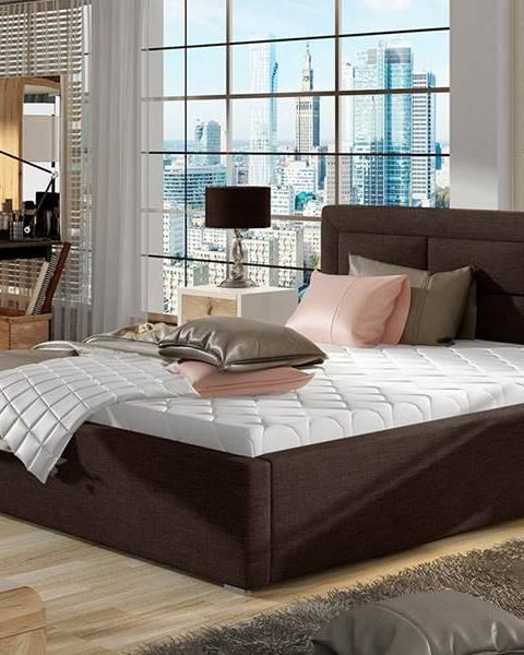 NABBI Rovigo 140 čalúnená manželská posteľ s roštom tmavohnedá (Sawana 26)