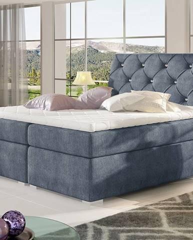 Beneto 140 čalúnená manželská posteľ s úložným priestorom modrá