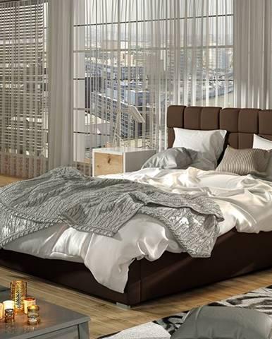 Galimo UP 200 čalúnená manželská posteľ s roštom tmavohnedá