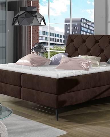 Lazio 140 čalúnená manželská posteľ s úložným priestorom tmavohnedá