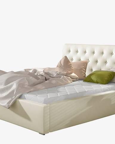 Monzo 200 čalúnená manželská posteľ s roštom béžová