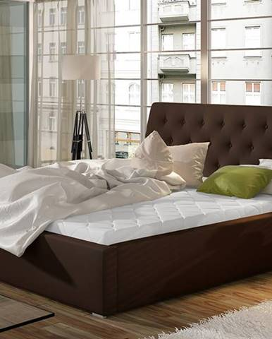 Monzo UP 180 čalúnená manželská posteľ s roštom tmavohnedá (Soft 66)