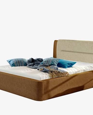 Portima 140 čalúnená manželská posteľ tmavohnedá (Dora 26)