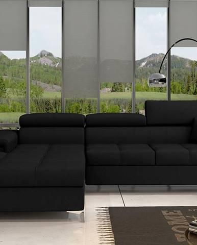 Rosino L rohová sedačka s rozkladom a úložným priestorom čierna (Sawana 14)