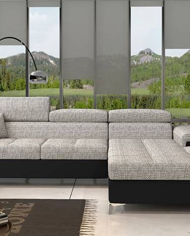 Rosino P rohová sedačka s rozkladom a úložným priestorom sivá