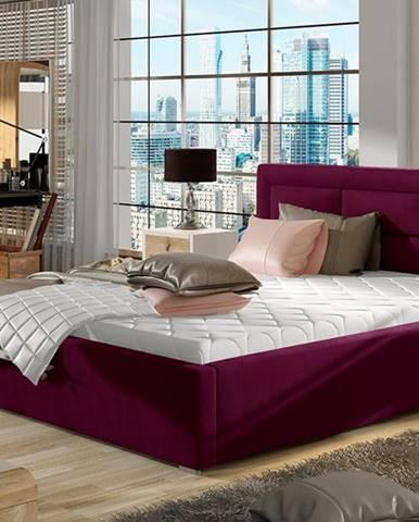 Rovigo 200 čalúnená manželská posteľ s roštom vínová