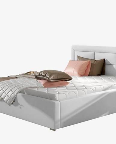 Rovigo UP 200 čalúnená manželská posteľ s roštom biela