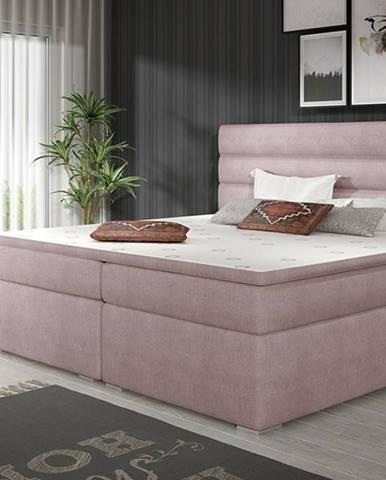 Spezia 180 čalúnená manželská posteľ s úložným priestorom ružová