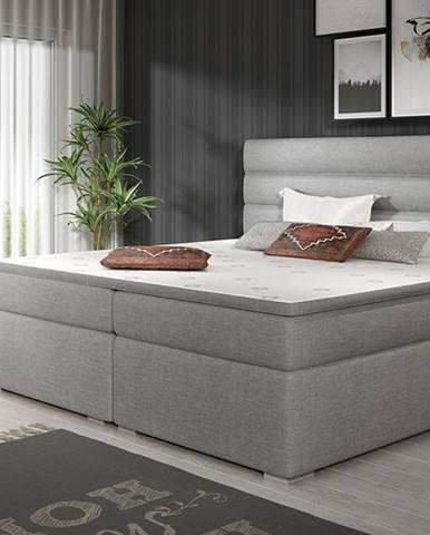 Spezia 180 čalúnená manželská posteľ s úložným priestorom svetlosivá (Sawana 21)