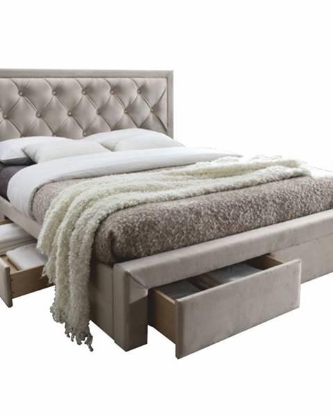 Tempo Kondela Orea 160 čalúnená manželská posteľ s roštom sivohnedá