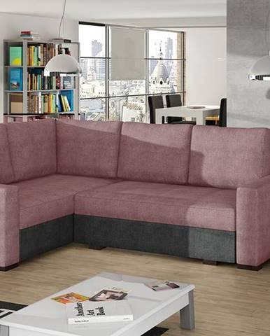 Castelo L rohová sedačka s rozkladom a úložným priestorom ružová