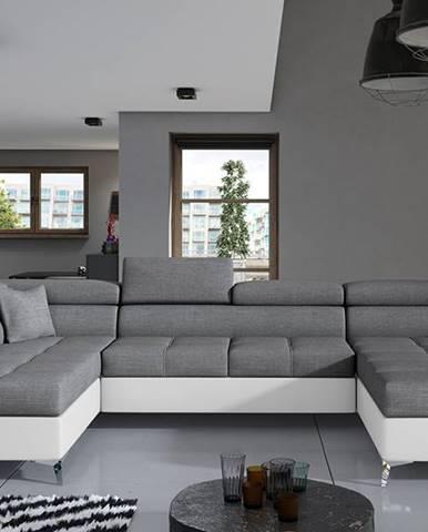 Enrico U L rohová sedačka u s rozkladom a úložným priestorom sivá
