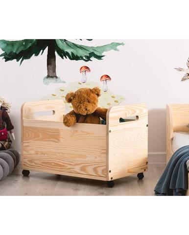 Pojazdný úložný box z borovicového dreva Adeko Kutu Bella, 60 cm