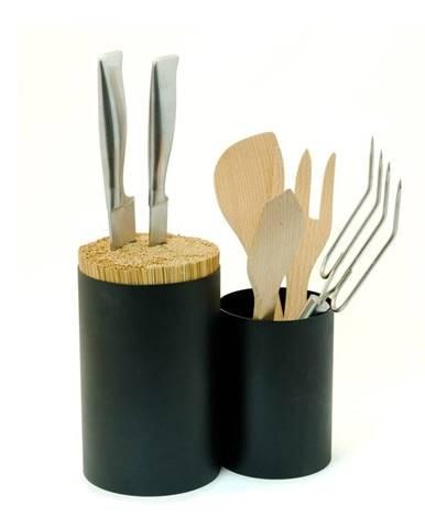Čierny blok na nože a kuchynské náčinie z bambusového dreva Wireworks Knife&Spoon