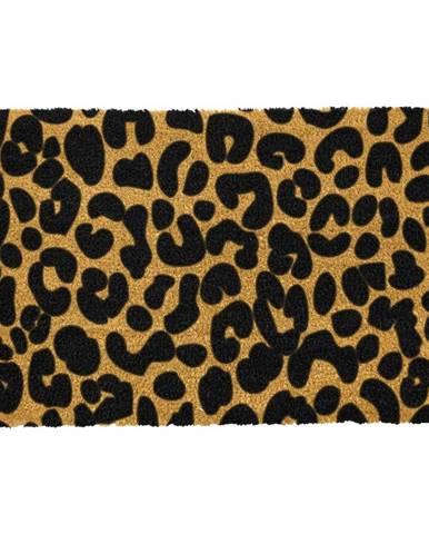 Čierna rohožka z prírodného kokosového vlákna Artsy Doormats Leopard, 40 x 60 cm