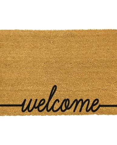 Čierna rohožka z prírodného kokosového vlákna Artsy Doormats Welcome Scribbled, 40 x 60 cm