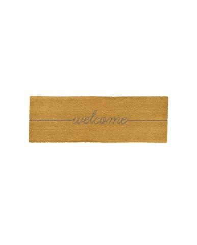 Sivá dlouhá rohožka z prírodného kokosového vlákna Artsy Doormats Welcome, 120 x 40 cm