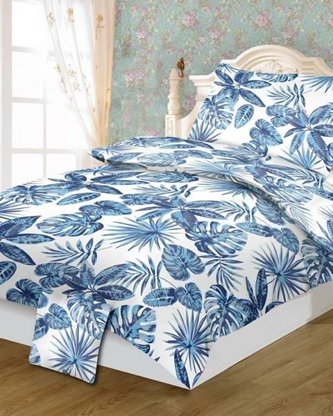 KELA Jahu Bavlnené obliečky Monstera blue, 140 x 200 cm, 70 x 90 cm, 40 x 40 cm