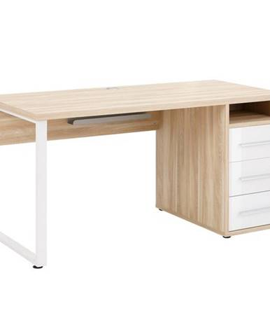 Písací stôl MUDDY dub natur/biele sklo, so zásuvkami