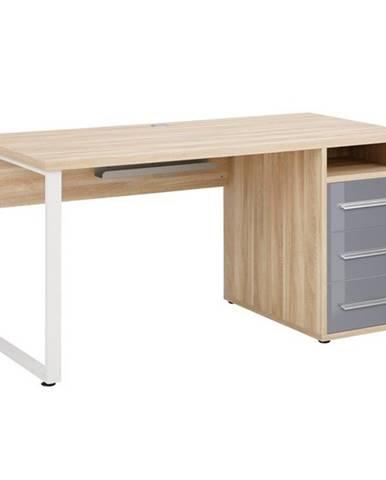 Písací stôl MUDDY dub natur/sivé sklo, so zásuvkami