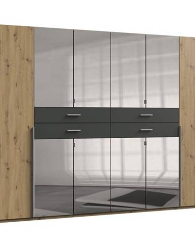 Šatníková skriňa DECLAN dub artisan/grafit, 270 cm, 8 zrkadiel