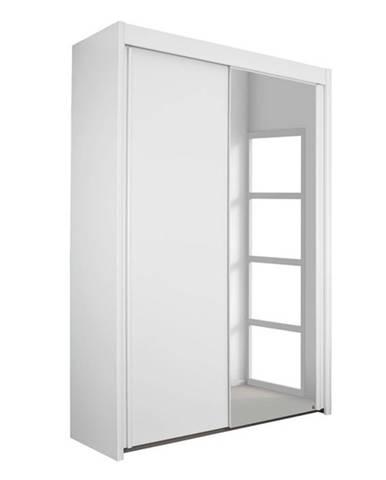 Šatníková skriňa KING 2 biela, 151 cm, 1 zrkadlo