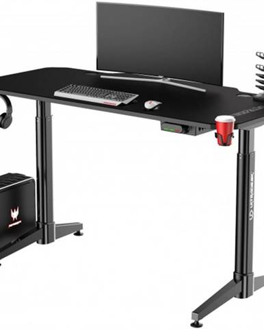 Herný stôl ULTRADESK LEVEL BLACK UDESK-LVA-BB + ZDARMA podložka pod myš a hub