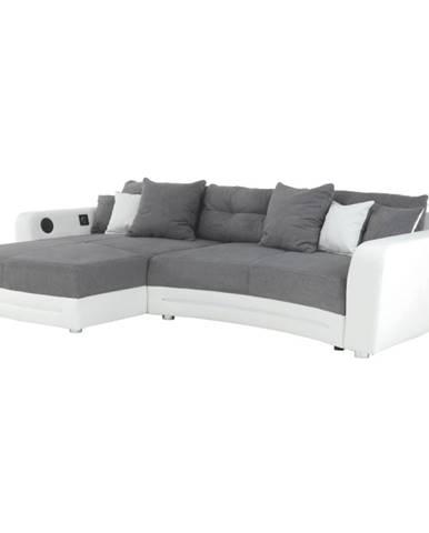 Rohová sedacia súprava s elektronickými doplnkami eko biela /látka sivá  LUXLAREDO