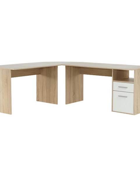 Kondela Rohový PC stôl dub sonoma/biela MAURUS NEW MA11