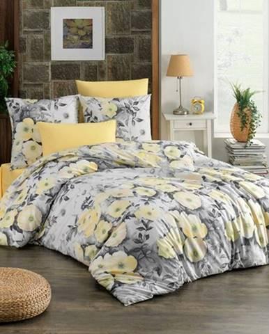 BedTex Bavlnené obliečky Alisa žltá, 140 x 200 cm, 70 x 90 cm