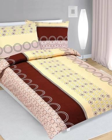Bellatex Flanelové obliečky Kolesá béžová, 140 x 200 cm, 70 x 90 cm