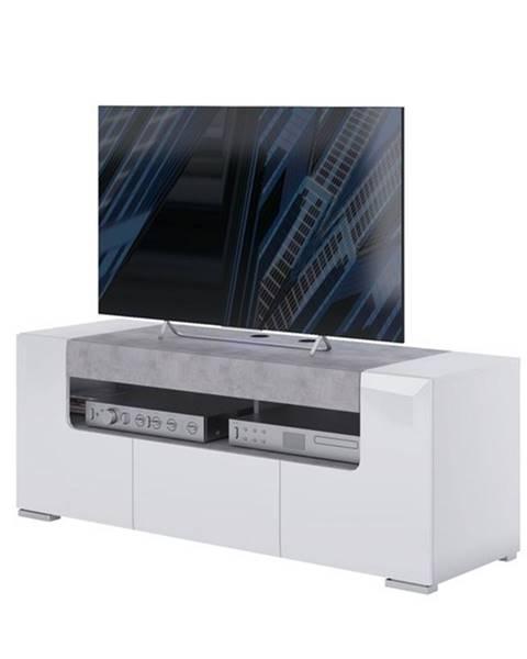 Sconto TV komoda CANTERO biela vysoký lesk/betón, šírka 140 cm