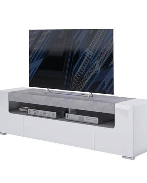 Sconto TV komoda CANTERO biela vysoký lesk/betón, šírka 190 cm