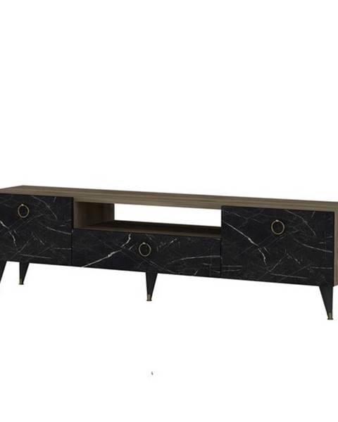 Sconto TV stolík CAVELLI orech/čierna