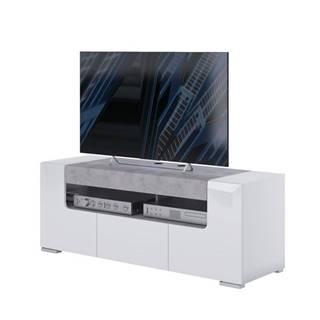 TV komoda CANTERO biela vysoký lesk/betón, šírka 140 cm