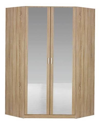 Rohová šatníková skriňa BENETT dub sonoma, 2 dvere, 2 zrkadlá