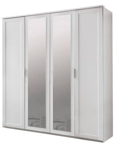 Šatníková skriňa NATHAN biela, 180 cm, 2 zrkadlá