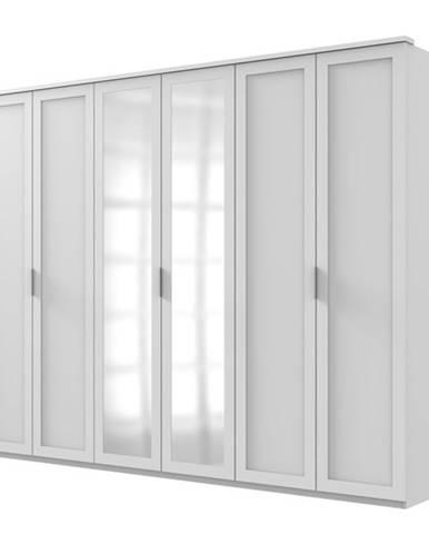 Šatníková skriňa NATHAN biela, 270 cm, 2 zrkadlá