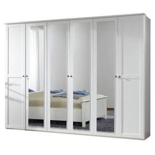 Šatníková skriňa CHASE biela, 270 cm, 4 zrkadlá