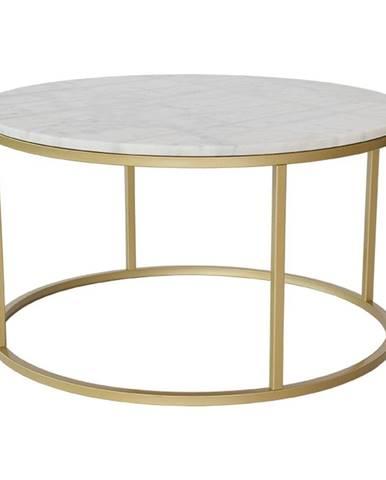 Mramorový konferenčný stolík s konštrukciou vo farbe mosadze RGE Accent, ⌀85 cm