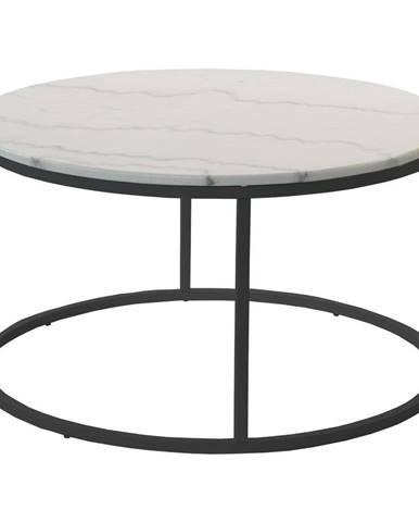 Mramorový odkladací stolík s čiernou konštrukciou RGE Accent, ⌀85cm