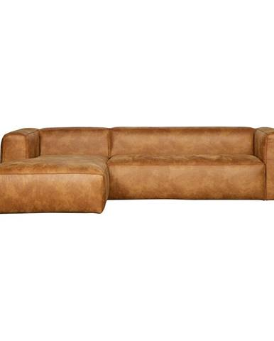 Hnedá rohová pohovka z recyklovanej kože WOOOD Bean, ľavý roh