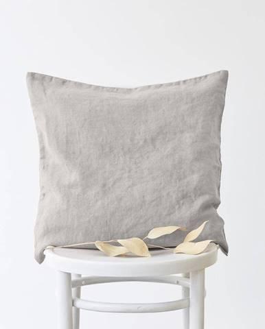 Striebornosivá ľanová obliečka na vankúš Linen Tales, 45 x 45 cm