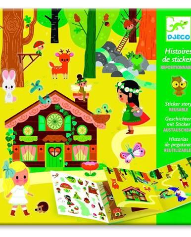 Set knihy s premiestniteľnými samolepkami Djeco Forest Sticker Story