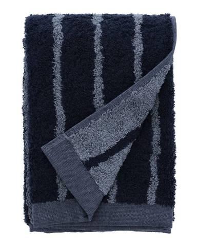 Modrý uterák z froté bavlny Södahl Stripes, 100 x 50 cm