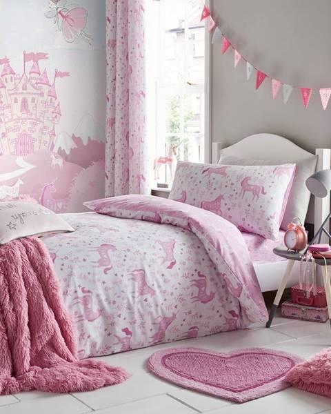 Catherine Lansfield Ružové obliečky na jednolôžko Catherine Lansfield Unicorn, 135×200cm