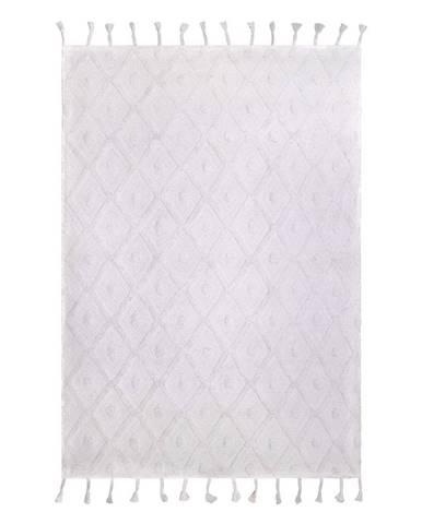 Biely ručne vyrobený koberec Nattiot Orlando, 120 x 170 cm